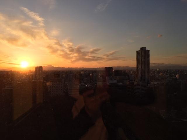夕陽。 Mt. Fuji with setting sun